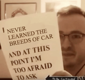 Afraid To Ask: NEVER  LEARNED THE  BREEDS OF CAR  AND AT THIS  POINT I'M  TOO AFRAID  TO ASK  To Be Continueo