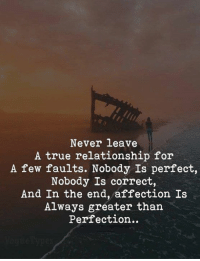 True, Never, and For: Never leave  A true relationship for  A few faults. Nobody Is perfect,  Nobody Is correct,  And In the end, affection Is  Always greater than  Perfection