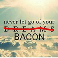 Never let go of your bacon: never let go of your  BACON Never let go of your bacon