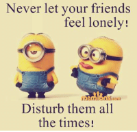 lonely: Never let your friends  feel lonely!  Disturb them all  the times!