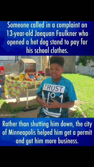 Never mind the fact the kid had to sell hot dogs to pay for school clothes... The fact that people think this is uplifting...: Never mind the fact the kid had to sell hot dogs to pay for school clothes... The fact that people think this is uplifting...