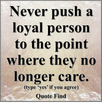 Memes, 🤖, and Push: Never push a  loyal person  to the point  where they no  longer care.  (type yes' if you agree)  Quote Find Quote Find <3