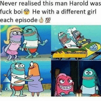 Spongebob Boi: Never realised this man Harold was  fuck boi He with a different girl  each episode10