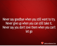 Love, Memes, and Never: Never say goodbye when you still want to try.  Never give up when you can still take it.  Never say you don't love them when you cant  let go  LikeLoveQuotes.Com