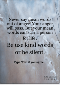 Memes, 🤖, and Scar: Never say mean words  out of anger. Your anger  will pass. But your mean.  words can scar a person  for life.  Be use kind words  or be silent.  Type 'Yes' if you agree.  Life Learned  F e e l i n g s <3