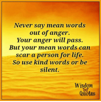 Life, Mean, and Quotes: Never say mean words  out of anger.  Your anger will pass.  But your mean words can  scar a person for life.  So use kind words or be  silent.  Wisdom  Quotes www.wisdomquotes4u.com