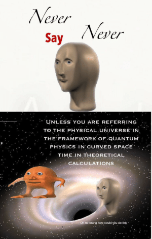 Space, Time, and Physics: Never  Say Never  UNLESS YOU ARE REFERRING  TO THE PHYSICALUNIVÉRSE IN  THE FRAMEWORK OF QUANTUM  PHYSICS IN'CURVED SPACE  TIME IN THEORETICAL  CALCULATIONS  Oh no orang how could you do this Me_irl