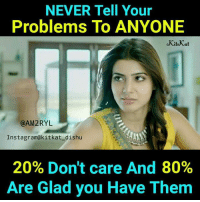 Kitkat: NEVER Tell Your  Problems To ANYONE  @AM2RYL  Instagram@kitkat_dishu  20% Don't care And 80%  Are Glad you Have Them