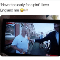 England, Instagram, and Love: Never too early for a pint I love  England me  Oldham  08:51 @pubity was voted 'best meme account on Instagram' 😂