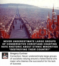 "(GC): NEVER UNDERESTIMATE LARGE GROUPS  OF CONSERVATIVE CHRISTIANS CHANTING  HATE RHETORIC ABOUT ETHNIC MINORITIES  ""DESTROYING THEIR COUNTRY""  Gregory Curtner  Correction: Never underestimate large groups  of socialists rallying around a failed liberal art:s  major who blames the successful for his lack  of success (GC)"