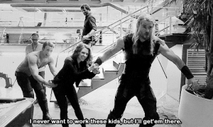 "Af, Chris Evans, and Chris Hemsworth: never want towork these kids.butHIget em there copperbadge:  ruffboijuliaburnsides:  ariadnesbishop:  chrisxscarlett: BRB DYING OF CUTENESS the fact that the weight of chris and scarlett still doesn't equal to thor look at their feet actually sliding lmao hemsworth is strong af   Look how fuckin DELIGHTED evans is holy shit  Chris Evans is like a three year old who thinks Chris Hemsworth, age five, is a deity. In every image where they're together he's almost invariably adoring. There's one where Hemsworth has him in a headlock and Evans is just like ""this is my life now and that's ok."""