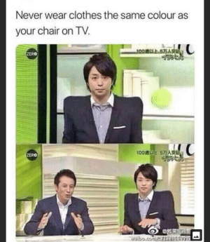 Square your shoulders: Never wear clothes the same colour as  your chair on TV.  100CLE 575A  ZERO  100 575A  ZERO  eibo.comr98se Square your shoulders
