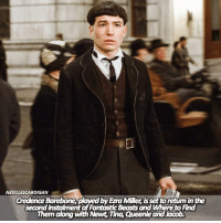 Memes, Film, and 🤖: NEVILLESCARDIGAN  Credence Barebone, plaved by Ezra Miller is set toretum in the  second instalment of FantasticBeasts and Whereto Find  Them along with Newt, Tina, Queenie and Jacob. [NEW] So Credence is set to make a comeback along with the main four from the first film! What are your thoughts?