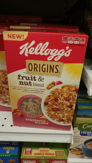 Target, Tumblr, and Blog: NEW!  1901 SAT,AT  140M| SUGARS  SAT FAT SODIUM SUGARS  CALORIES  PER 3/4 CUP SERVING  ORIGINS  TM  KD  fruit &  nutblend  A Delightful Cereal Mixture of Crunchy Toasted  Oats, a Blend of Bran and Corn Flakes, Nuts  and Wholesome Dried Fruits  Fla  Grain  cranberry  Cas  FRENC  walnuut  GRAN  LAVORS  Flakes  Aiues  CORN PUFFS  GORILLA MUNCH bigsphinxofquartz:  I'm really glad there's a prequel cereal so we can learn more about the lore