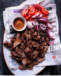 Africa, Beef, and Memes: NEW% 23  Ke  7724  narket.traveUnc 17602  0330 Suya by @foodace. Suya is a barbecue specialty from west Africa and it comprises beef, spice, night time, and newspaper