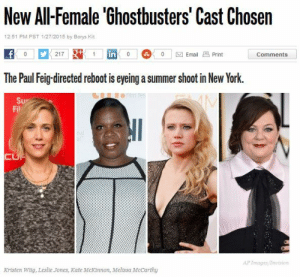 visakills:  finallyfrontiered:  stfumras:  smoothiefreak:  whoa.  IS THIS REAL??!!  It is!! (it's rlly rad too b/c omg an actually diverse cast! A WoC, a plus sized woman, and an LGBTQIA+ woman (Kate McKinnon is gay, in case you didn't know) and they're all wonderfully hilarious).   As great as this is its gonna flop so bad..: New All-Female 'Ghostbusters' Cast Chosen  12:51 PM PST 1/27/2015 by Borys Kit  in  0 | Email Print  Comments  The Paul Feig-directed reboot is eyeing a summer shoot in New York.  Fil  CUTE  AP Images Invision  Kristen Wiig, Leslie Jones, Kate McKinnon, Melissa McCarthy visakills:  finallyfrontiered:  stfumras:  smoothiefreak:  whoa.  IS THIS REAL??!!  It is!! (it's rlly rad too b/c omg an actually diverse cast! A WoC, a plus sized woman, and an LGBTQIA+ woman (Kate McKinnon is gay, in case you didn't know) and they're all wonderfully hilarious).   As great as this is its gonna flop so bad..