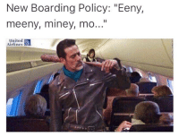 "united airlines: New Boarding Policy: ""Eeny,  meeny, miney, mo...""  United  Airlines"