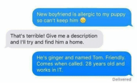 Thats Terrible: New boyfriend is allergic to my puppy  so can't keep him  That's terrible! Give me a description  and I'll try and find him a home  He's ginger and named Tom. Friendly.  Comes when called. 28 years old and  works in IT  Delivered