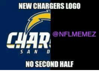 NEW CHARGERSLOGO  CHAR NFLMEMEZ  S A N D  NO SECOND HALF San Diego Chargers new logo!