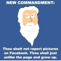 Submitted by Nikhil Silva: NEW COMMANDMENT  Thou shalt not report pictures  on Facebook. Thou shall just  unlike the page and grow up. Submitted by Nikhil Silva