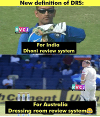 Nee definition of DRS rvcjinsta: New definition of DRS  RV CJ  WWW.RvCJ.COM  For India  Dhoni review system  RV CJ  WWW. RVCJ.COM  For Australia  Dressing room review system Nee definition of DRS rvcjinsta