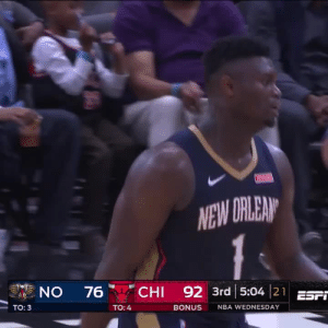 Zion Williamson was unstoppable and near perfect in his 2nd preseason game.   27 MINS 29 PTS 12-13 FG 5-8 FT 4 REB 4 AST 1 STL 1 TO   https://t.co/Dw1LxsK5Tr: NEW DRLEAN  CHI 92 3rd 5:04 21EST  ON  76  Tо: 3  TO: 4  BONUS  NBA WEDNESDAY Zion Williamson was unstoppable and near perfect in his 2nd preseason game.   27 MINS 29 PTS 12-13 FG 5-8 FT 4 REB 4 AST 1 STL 1 TO   https://t.co/Dw1LxsK5Tr