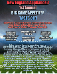 New England Appliances 1st Annual Biggameappetizer Taste Off 1st Prizes A Cans Or Electric Convection Range 2nd Prize A Beer Beverage Center 3rd Prize A