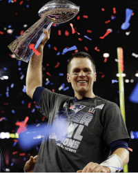 New England @Patriots' Tom Brady hoists the Vince Lombardi Trophy after SuperBowl 51 against the @AtlantaFalcons. The New England Patriots won 34-28 in overtime. (AP Photo-David J. Phillip): New England @Patriots' Tom Brady hoists the Vince Lombardi Trophy after SuperBowl 51 against the @AtlantaFalcons. The New England Patriots won 34-28 in overtime. (AP Photo-David J. Phillip)