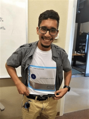 Halloween, Today, and Needless: New Esployce.exe  oo you st to hire We had a candidate interview for an IT position today. He literally designed and printed this shirt because he was interviewing on Halloween! Needless to say, we hired him