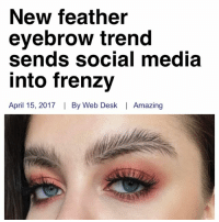 Memes, Social Media, and Desk: New feather  eyebrow trend  sends social media  into frenzy  April 15, 2017  By Web Desk I Amazing Decided to hop on the bandwagon😈💦😩👏🏾🙌🏻😩 (I think my eyebrows are gonna come off when this dries)
