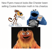 new flyers mascot looks like chester been selling cookie monster