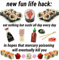 Life, Memes, and Life Hack: new fun life hack:  eat nothing but sushi all day every day  KEWPIE  in hopes that mercury poisoning  will eventually kill you