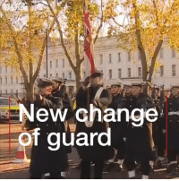 "Memes, Army, and History: New Ghange  f guard Royal Navy sailors have performed the Changing of the Guard outside Buckingham Palace for the first time in the ceremony's 357-year history. The change in personnel is to mark 2017 as the ""Year of the Navy"". navy army uniform London royalty parade"
