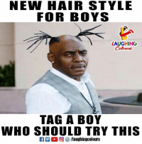 Hair, Indianpeoplefacebook, and Boy: NEW HAIR STYLE  FOR BOYS  LAUGHING  Colowrs  TAG A BOY  WHO SHOULD TRY THIS  ELL 回參/laughingcolours