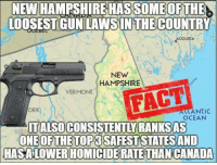New Hampshire: NEW HAMPSHIRE HAS SOME OFTHE  LOOSEST GUN LAWSIN COUNTRY  THE  VAUGUSCA  NEW  HAMPSHIRE  VERMONT  FACT  ORK  ALIANTIC  OCEAN  TALSO CONSISTENTLY RANKS AS  HASALOWERHOMICIDERATETHAN CANADA