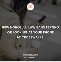 Apple, Dell, and Facts: NEW HONOLULU LAW BANS TEXTING  OR LOOKING AT YOUR PHONE  AT CROSSWALKS.  TECHNOLOGY FACTS  @TECHNOBOLT Let's get this law everywhere! - fact technobolt technology tech apple iphone ipod ipad samsung s7 hp dell acer lenovo asus cool innovation inspirational microsoft windows mac osx awesome wow damn nice amazing oneplus smartphone phone