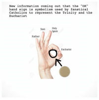"😊👌 -Shieldmaiden: New information coming out that the ""OK""  hand sign is symbolism used by fanatical  Catholics to represent the Trinity and the  Eucharist  Holy  Spirit  Son  Father  Eucharist 😊👌 -Shieldmaiden"