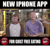 This new iPhone App is the perfect solution for all of this 'holiday eating'...: NEW IPHONE APP  NE  Just  Just  FOR GUILT FREE EATING  Eat It  Eat It This new iPhone App is the perfect solution for all of this 'holiday eating'...