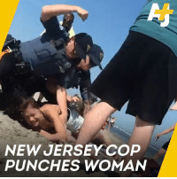 Memes, Police, and Beach: NEW JERSEY COP  PUNCHES WOMAN A police officer punched and arrested a woman on holiday at the beach.