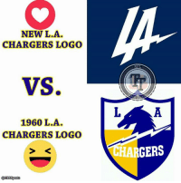 NEW L.A.  CHARGERS LOGO  VS.  1960 L.A.  CHARGERS LOGO  a CBSSports  GERS What say you, NFLTT community? I think they both look stupid, but if I had to pick, the bottom is where it's at. #TwoFace  [Photo Accredited to: CBS Sports]