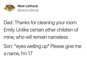 Children, Dad, and Dank: New Lettuce  @newLettuce  Dad: Thanks for cleaning your room  Emily. Unlike certain other children of  mine, who will remain nameless.  Son: *eyes welling up* Please give me  a name, im T/ Meirl by legendariusss MORE MEMES