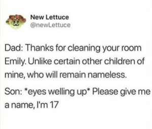 "Children, Dad, and Hungry: New Lettuce  @newLettuce  Dad: Thanks for cleaning your room  Emily. Unlike certain other children of  mine, who will remain nameless.  Son: ""eyes welling up* Please give me  a name, l'm 17 Hi, hungry. Im dad"