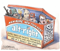 """Let's call the """"alt-right"""" by their REAL names.: NEW MA  NEW PACK AC  EW NAME, NEW  O  TOXIC  SAME BUNCH OF RACISTS, NEO-NAZIS,  MISOGYNISTS AND XENOPHOBES.  S & OPEN SOCIETIES  TO PLURALISTIC  NOW IN A BRIGHT NEW BOX!  M.WUERKER  POLrrico Universal Ulack Let's call the """"alt-right"""" by their REAL names."""