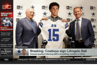 Dallas Cowboys, Definitely, and Nba: NEW  NEW  ERA  ERA  FLY YOUR DIWN FLA  LY YOUR WN FLAG  FLY YOUR OWN FLAG  LY YOUR OWN L  BREAKING  NEWS  NE พ  ERA  NEW  ERA  EFIH  FLY  al  3:B  ELLIOTT  UNSUSPENDED  15  Texans have  found a QB  ...andddddd  he's gone  Packers season  definitely over eGhetto Gronk  Big Burglar  Brand  Breaking: Cowboys sign LiAngelo Ball  Interest sparked following Ball's shoplifting incident in China  NBA  Coming soon: Get a sneak peak of BigBallerBrand's new Jailo 1's Another criminal signs... 😂😂😂 https://t.co/Cmv96ydeOw