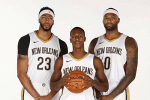 DeMarcus Cousins, Los Angeles Lakers, and Rajon Rondo: NEW ORLEANS  NEW ORLEANS  23  O  NEM ORLEANS  PALDING New Orleans Lakers. #NOLA   Anthony Davis-Rajon Rondo-DeMarcus Cousins https://t.co/JeTFP0sm9c