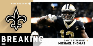 BREAKING: The @Saints and Michael Thomas (@Cantguardmike) have agreed on a 5-year, $100 million extension ($61 million in guarantees) that makes him the highest-paid WR in NFL history. (via @RapSheet) https://t.co/rg0PM80omJ: NEW ORLEANS  TB  BREAKING  SAINTS EXTENDING  MICHAEL THOMAS BREAKING: The @Saints and Michael Thomas (@Cantguardmike) have agreed on a 5-year, $100 million extension ($61 million in guarantees) that makes him the highest-paid WR in NFL history. (via @RapSheet) https://t.co/rg0PM80omJ