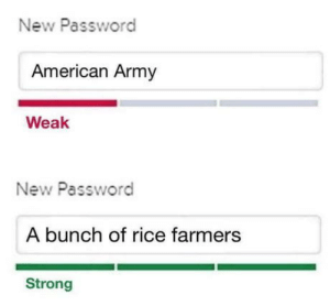 Lit, Army, and American: New Password  American Army  Weak  New Password  A bunch of rice farmers  Strong 69 was lit (by naplam)