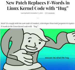 "Intel, Linux, and Code: New Patch Replaces F-Words in  Linux Kernel Code with ""Hug""  O'  Last updated December 5, 2018-54 Comments  Brief: To comply with the new code of conduct, a developer from Intel proposes to replace  F-words in the Linux kernel code with ""hug'  excuse me what the hug Changes in Linux code repo"