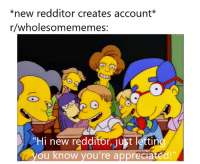 "Account, New, and Youre: *new redditor creates account*  r/wholesomememes  6  Hi new redditor ust lettin  ou know you're appreciated!"" Hi, new redditor!"