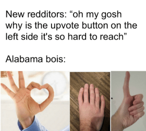 "Dank, Memes, and Target: New redditors: ""oh my gosh  why is the upvote button on the  left side it's so hard to reach""  Alabama bois: Alabama bois by tylerstrenk18 MORE MEMES"
